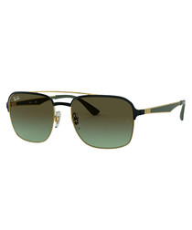 Black & gold-tone top-bar sunglasses
