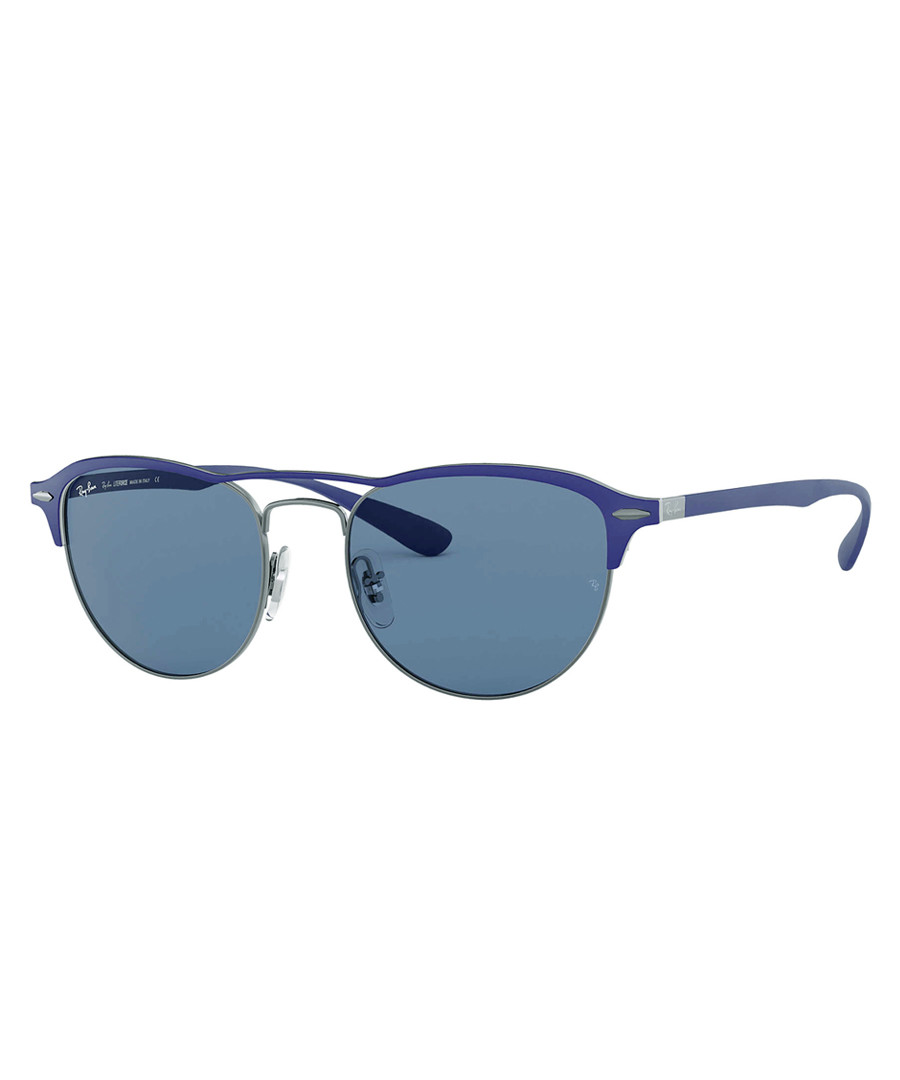 Gunmetal & blue rounded sunglasses Sale - Ray Ban