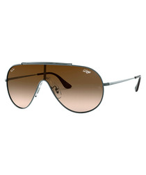 Gunmetal & brown one-lens sunglasses