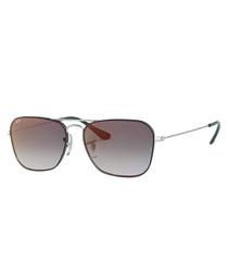 Silver-tone & grey square sunglasses