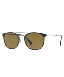 Light Havana & brown top-bar sunglasses