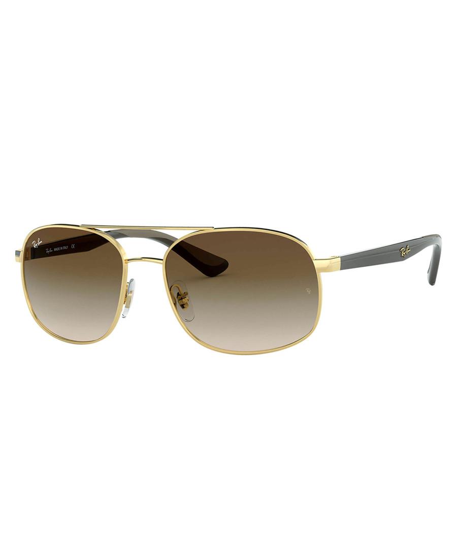 Gold-tone & brown steel sunglasses Sale - Ray Ban