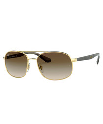 Gold-tone & brown steel sunglasses
