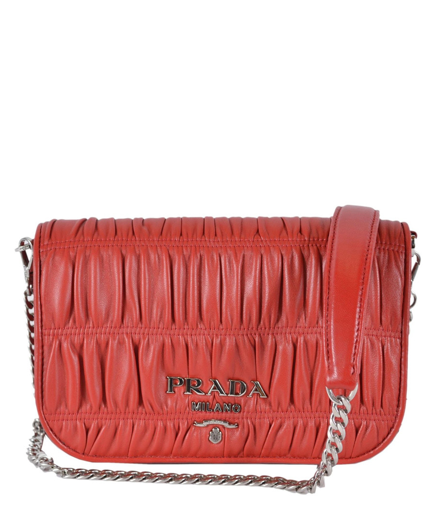 Fuoco red ruched leather crossbody Sale - prada