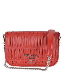 Fuoco red ruched leather crossbody