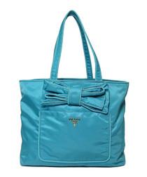 Tessuto turquoise bow shoulder bag
