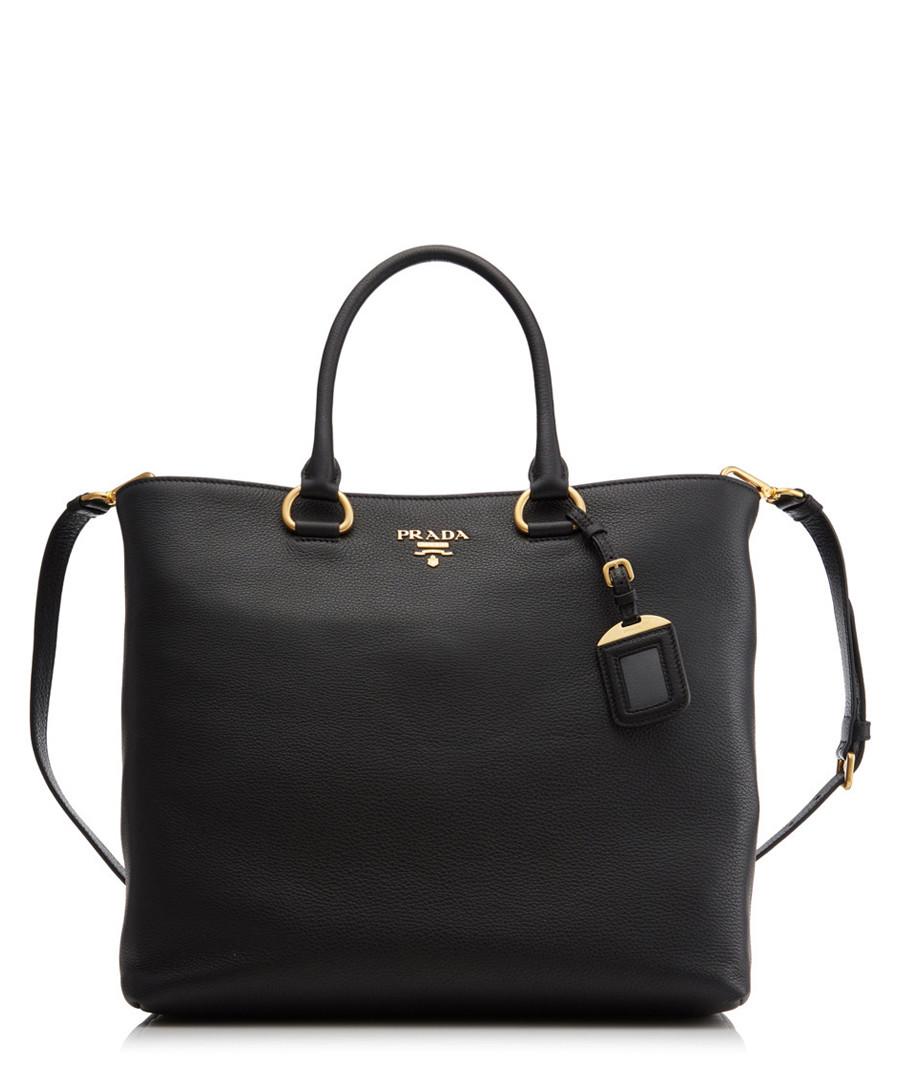 Vitello Phenix black leather shopper Sale - prada
