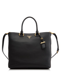 Vitello Phenix black leather shopper