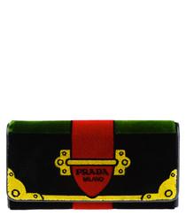 Black embroidered velvet purse
