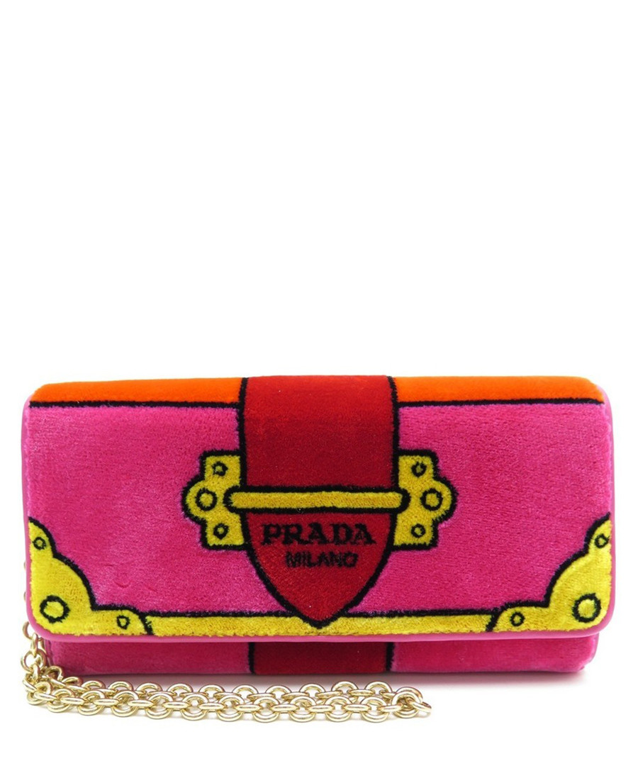Fuchsia embroidered velvet purse Sale - Prada