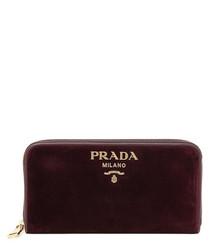 Burgundy velvet zip-around wallet