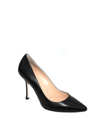 Nappa black leather court heels