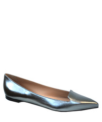 Nappa pewter leather ballet flats