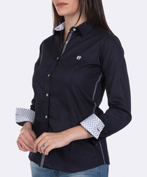 Navy cotton stretch blouse