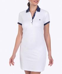 White cotton stretch shirt dress