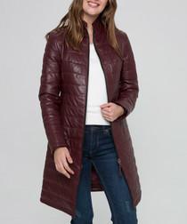 Burgundy leather padded longline coat