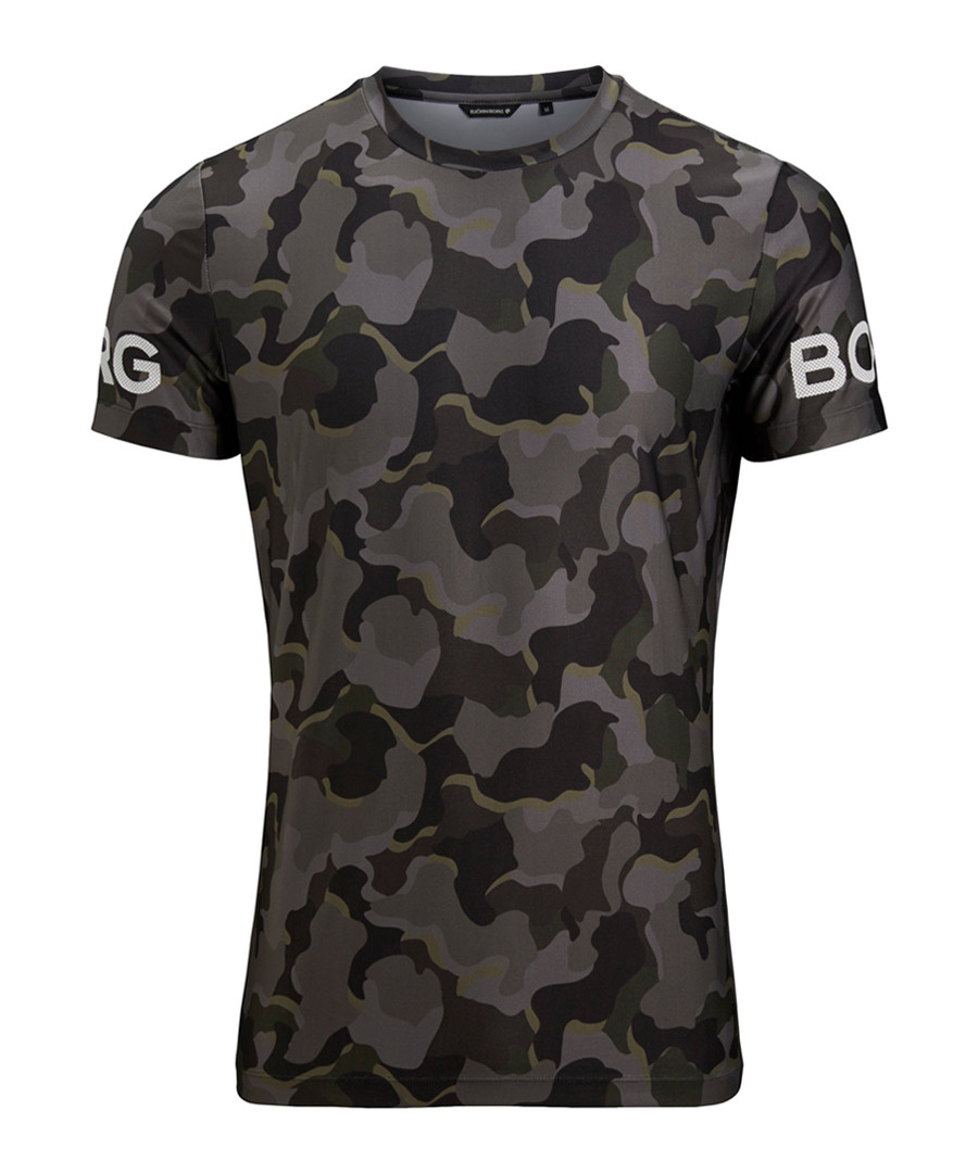Olive camouflage print T-shirt Sale - bjorn borg