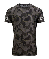 Olive camouflage print T-shirt