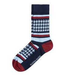 Men's blue & burgundy print socks