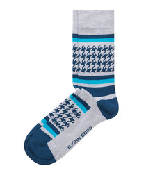 Men's blue & grey print socks
