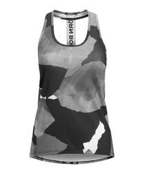 Greyscale print logo strip tank top