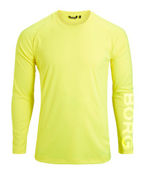 Yellow long sleeve logo top