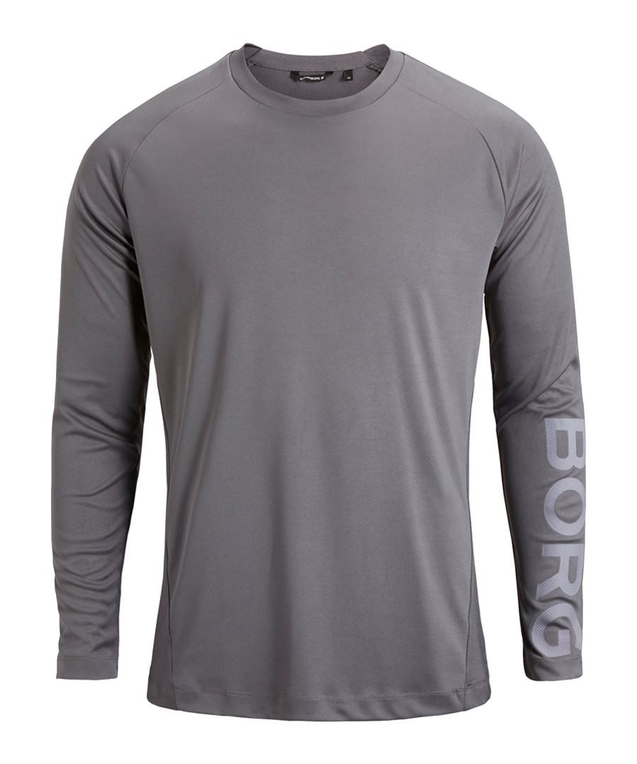 Grey long sleeve logo top Sale - Bjorn Borg