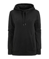 Black cotton blend hoodie