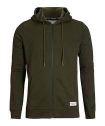 Men's khaki zip-up hoodie