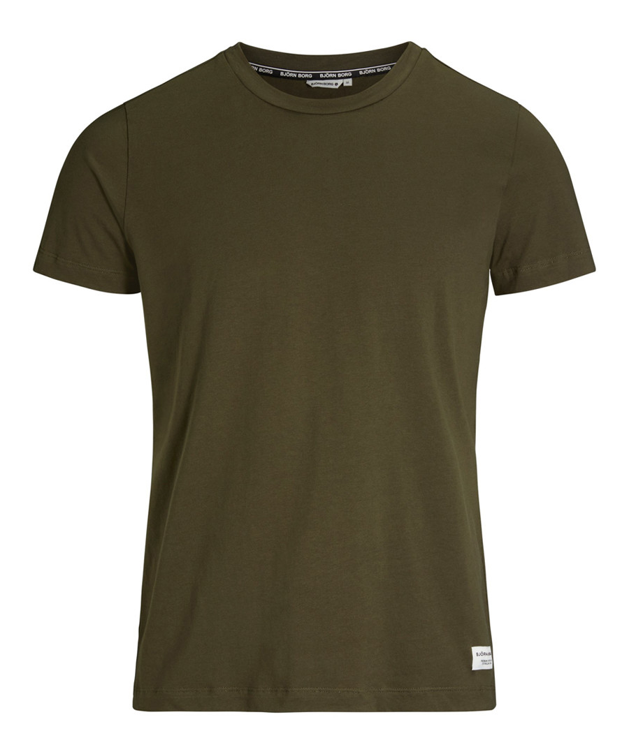 Men's khaki pure cotton T-shirt Sale - bjorn borg