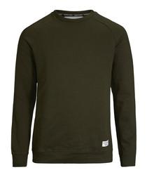 Men's khaki cotton blend jumper