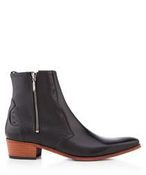 Carlito black leather zip cowboy boots