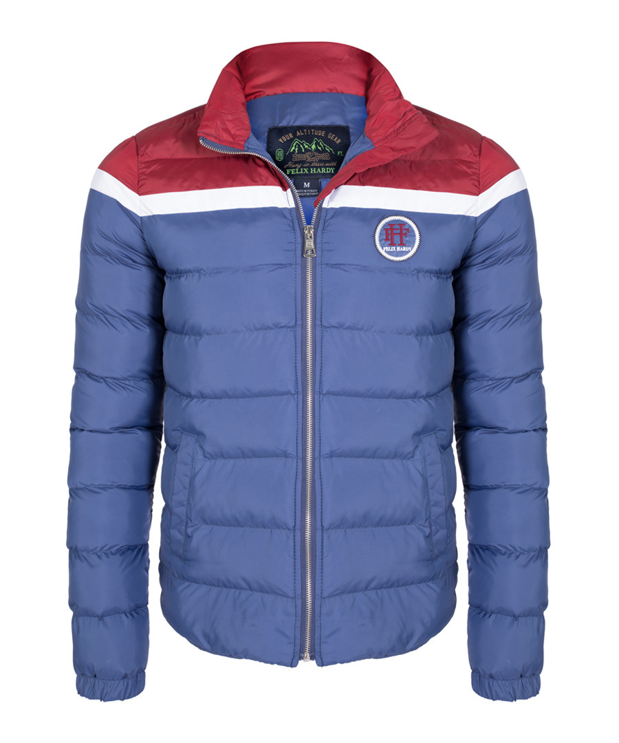 Indigo & red striped quilted coat Sale - felix hardy