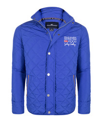 Sax blue quilted button-up coat