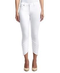 halle fray seams white skinny jeans