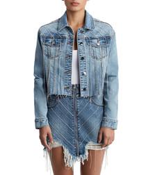 cropped trucker fringe cotton skirt