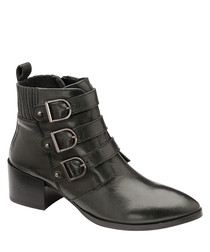 Black leather buckle ankle boots