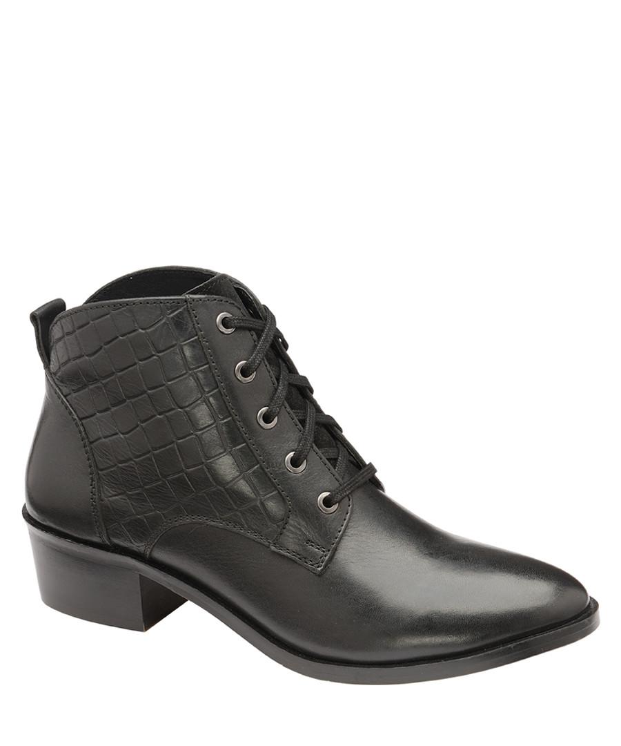 Black moc-croc leather ankle boots Sale - ravel
