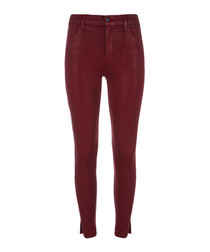 Alana coated high-rise crop skinny jeans