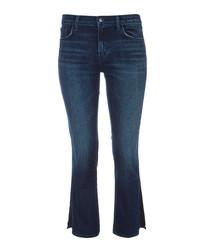 Selena dark mid-rise crop bootleg jeans