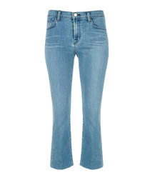 Selena mid-rise crop bootleg jeans
