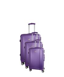 3pc kirwee purple suitcase set 66cm