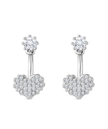 14k white gold-plated heart ear jacket earrings