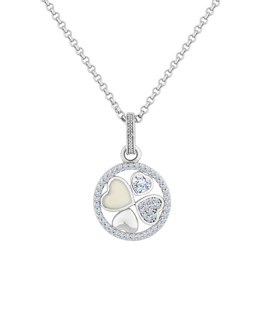 14k white gold-plated heart pendant necklace Sale - diamond style