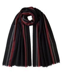 Red stripes pure merino scarf