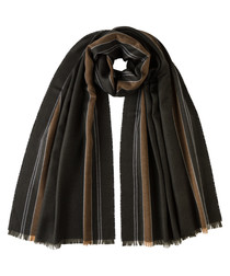 Brown stripes pure merino scarf