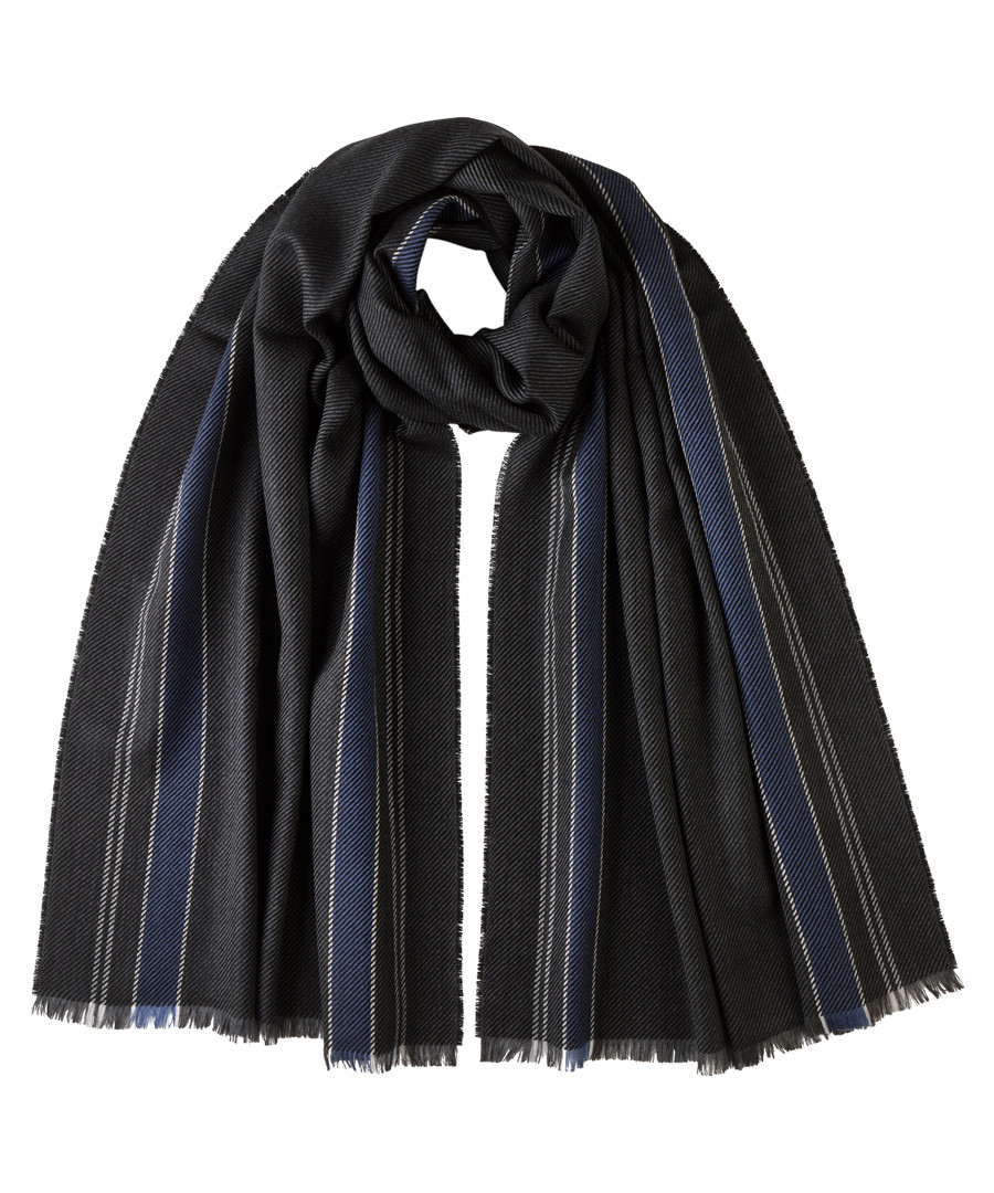 Blue stripes pure merino scarf Sale - Johnston's of Elgin