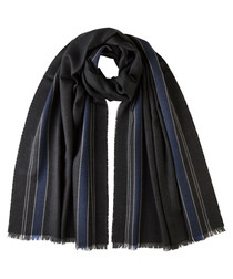 Blue stripes pure merino scarf