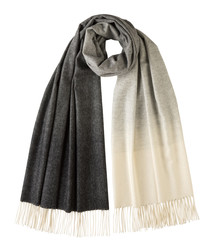 Greyscale pure cashmere scarf