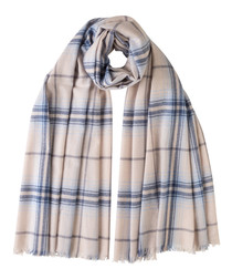 Natural & blue cashmere checked scarf